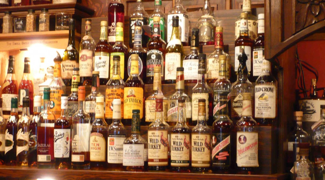 bourbon on shelf