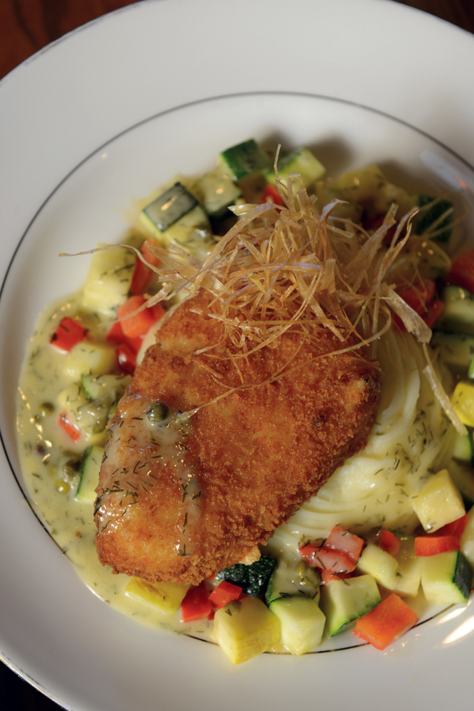 A favorite on the menu since 1994 is the Parmesan-crusted sea bass with whipped potatoes.