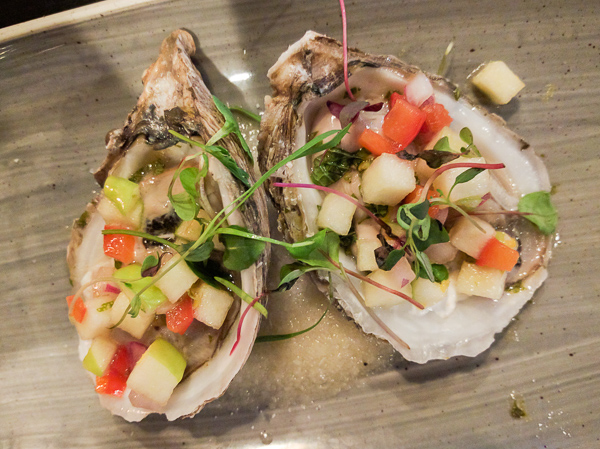 Raw oysters with lemon-mint mignonette, apple pepper crudite by Chef Kristina Dyer